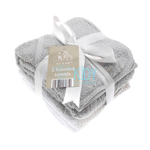 Elli & Raff set: 2 hooded towels (grey and white)