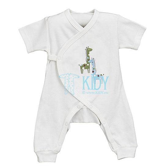 Baltas kombinezonas-pižama DODI trumpomis rankovėmis