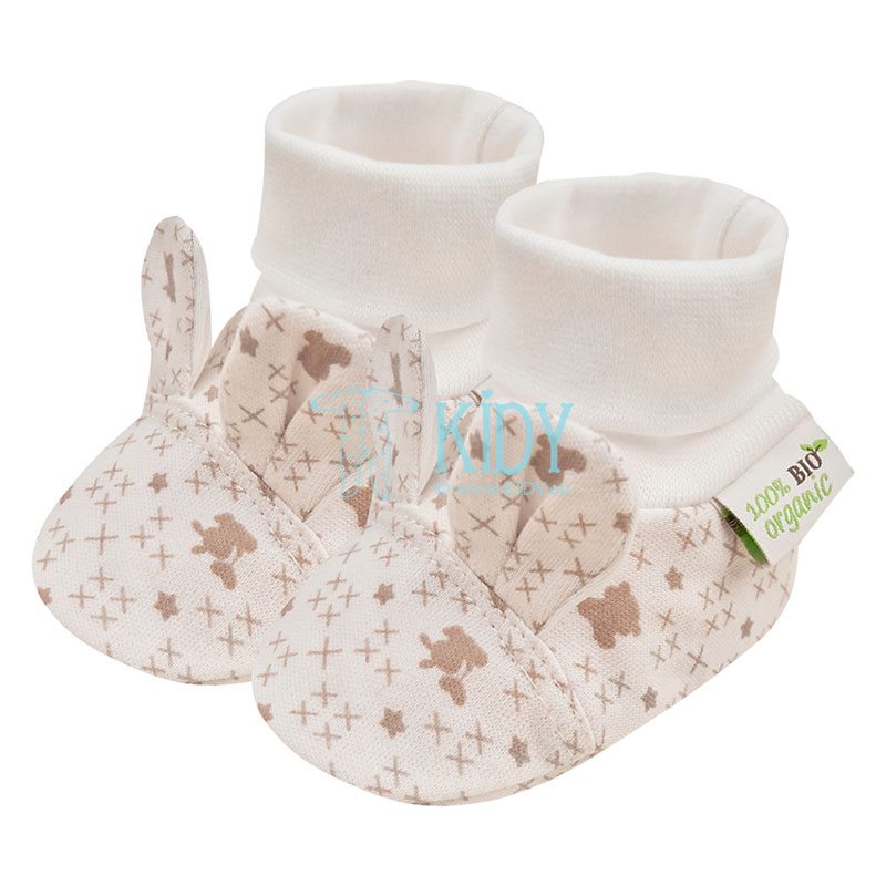 Creamy ORGANIC booties with ears
