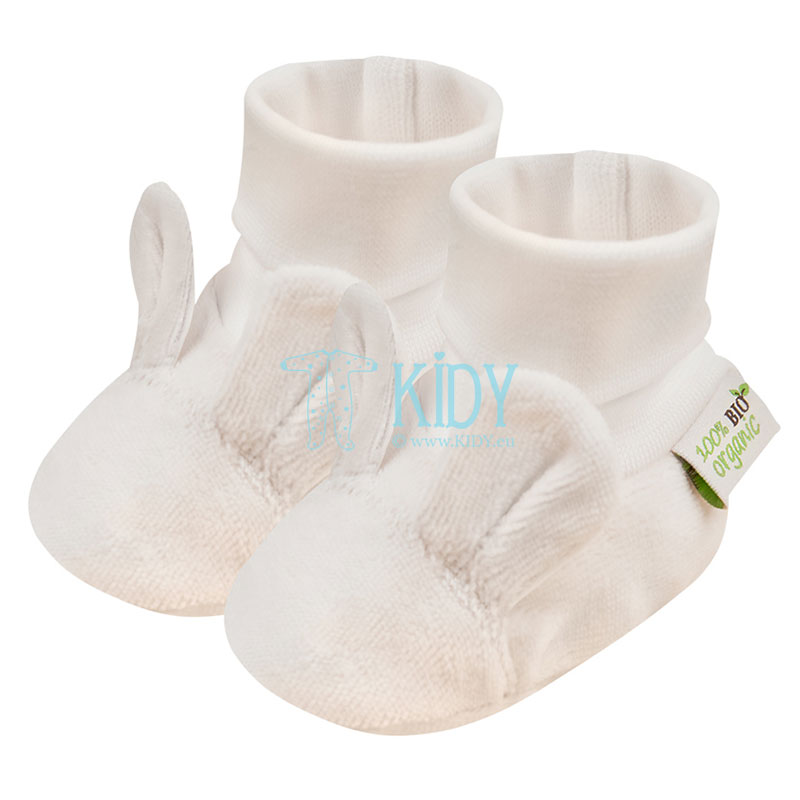 Ecru velour ORGANIC booties with ears