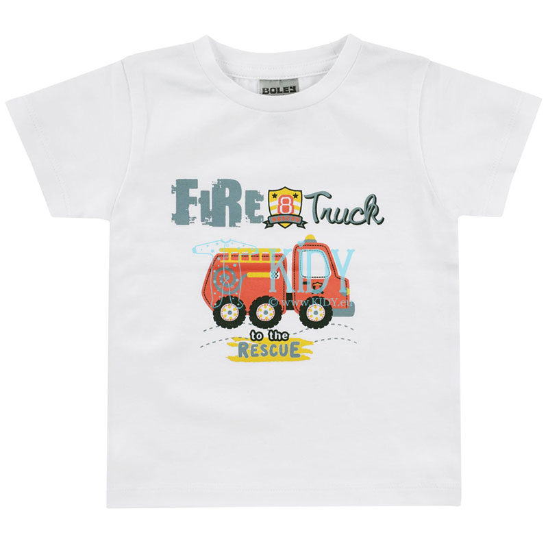 White FIRE TRUCK T-shirt