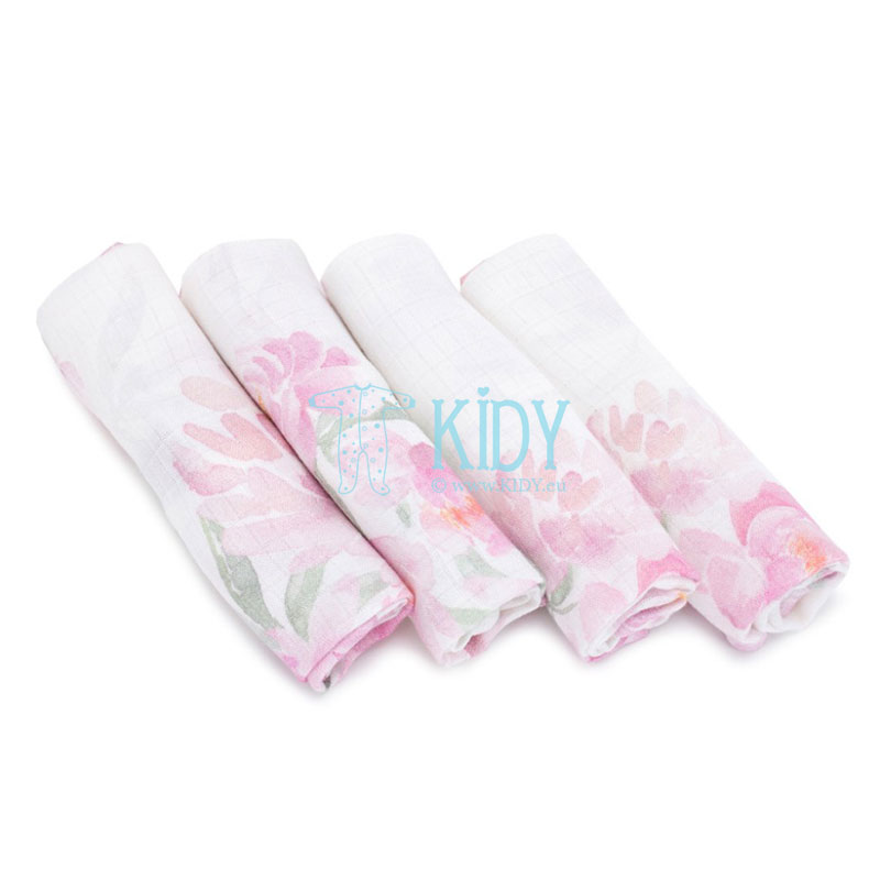 4 pcs muslin bamboo Peonie wash cloths set