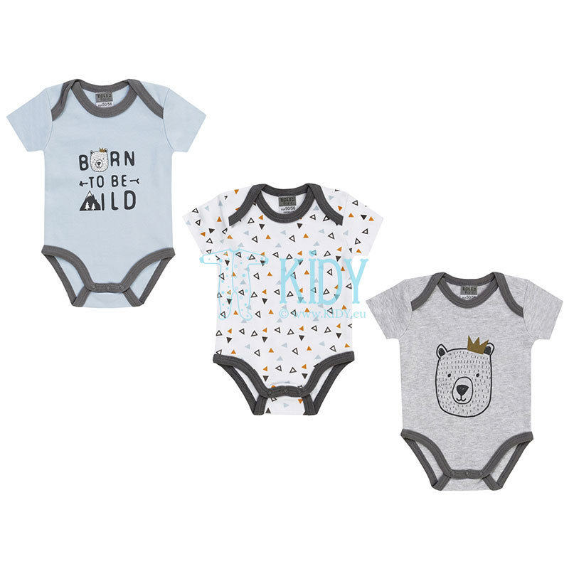 3pcs shortsleeved BORN TO BE WILD bodysuit pack
