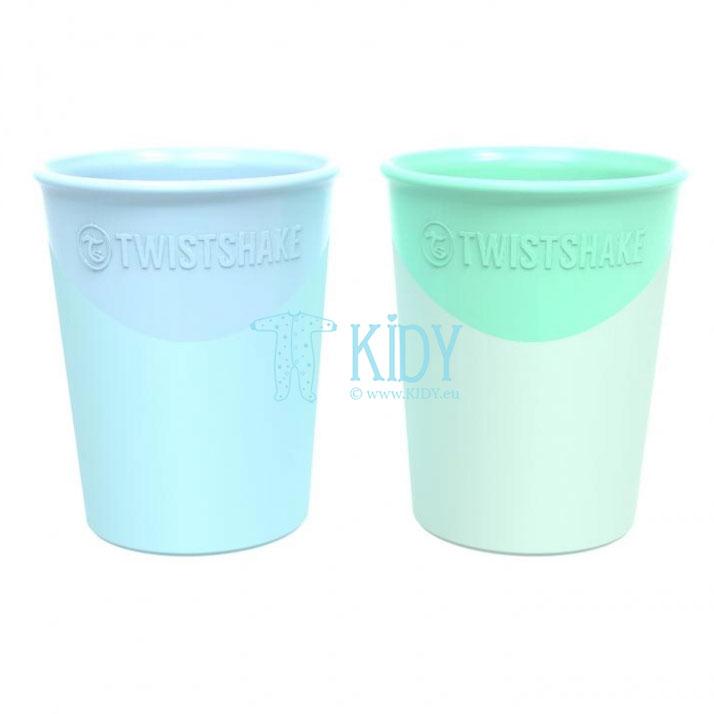 2 plastikinės stiklinės PASTEL BLUE GREEN (Twistshake)
