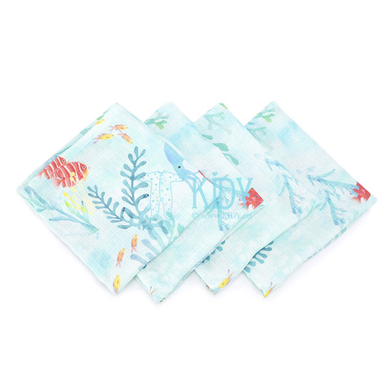 4 pcs muslin bamboo Ocean wash cloths set
