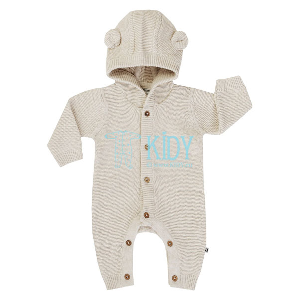 Beige knitted HELLO WORLD overall