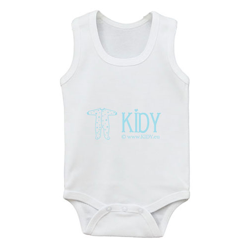 White PLAIN sleeveless bodysuit for baby