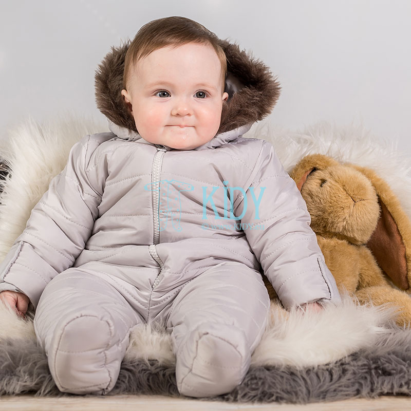 Grey ARTEX footed snowsuit