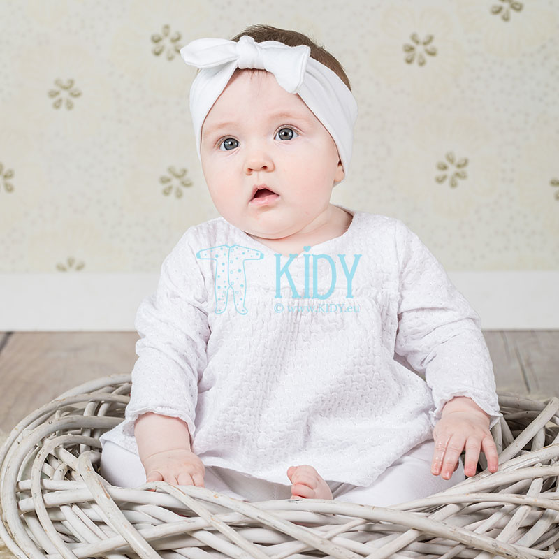 White baby girl set with headband