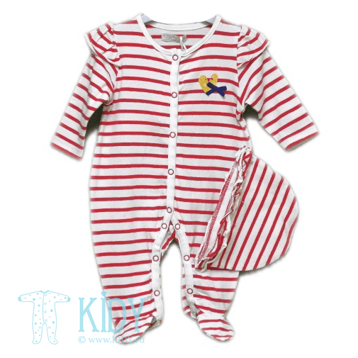 Red sleepsuit HEART with hat (Babaluno)