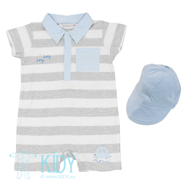 Grey romper CITY with cap