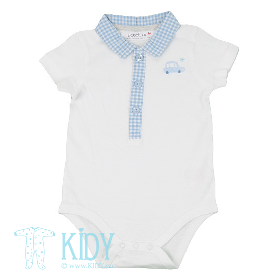 White CITY baby boy short sleeve bodysuits