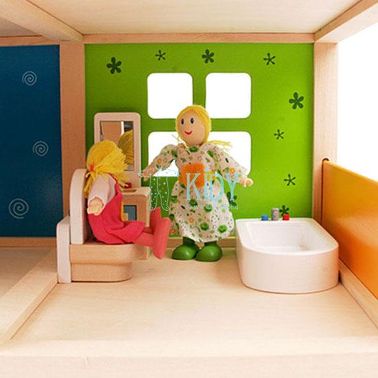 Medinis lėlių namas Linksmoji Vila su baldais (Hape) 6