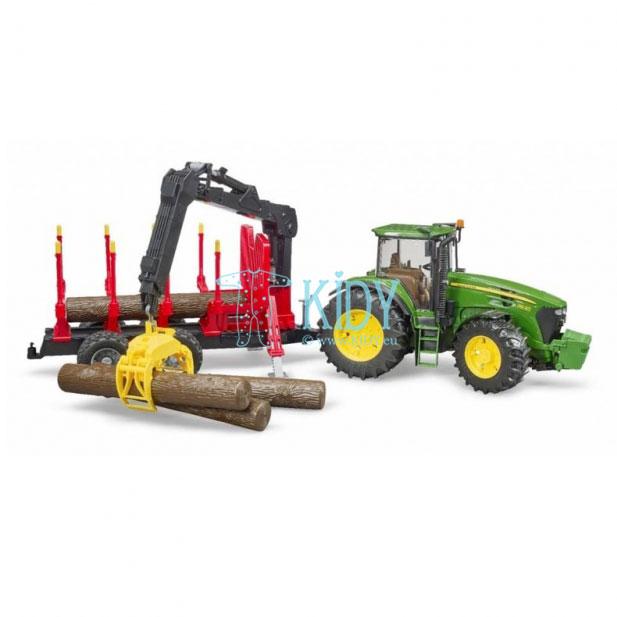 John Deere 7930 traktorius su pakrovimo priekaba + 4 rąstai (BRUDER) 6