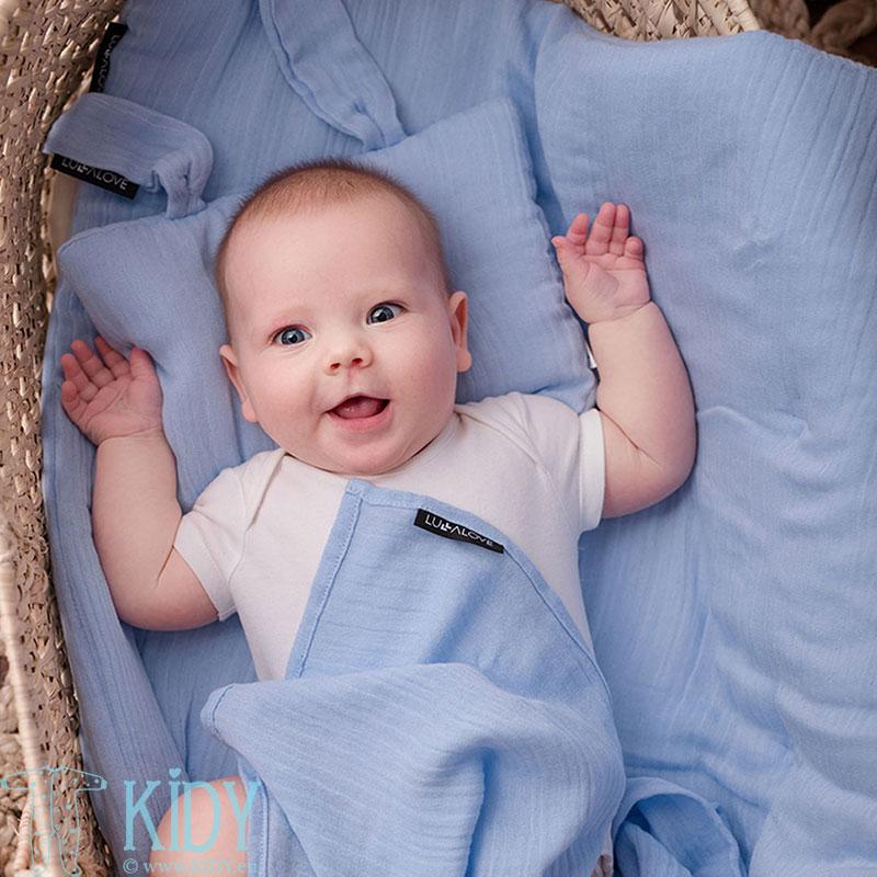 Mėlynas bambukinis muslino vystyklas SERENITY NIEBIESKI (Lullalove) 6