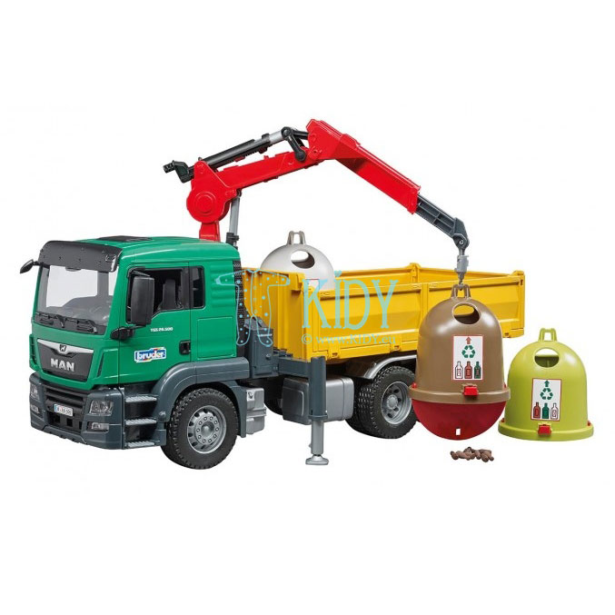 MAN TGS Truck with 3 glas recycling containers