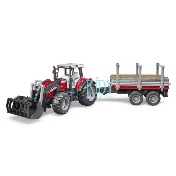 Massey Ferguson + Frontloader and timber trailer