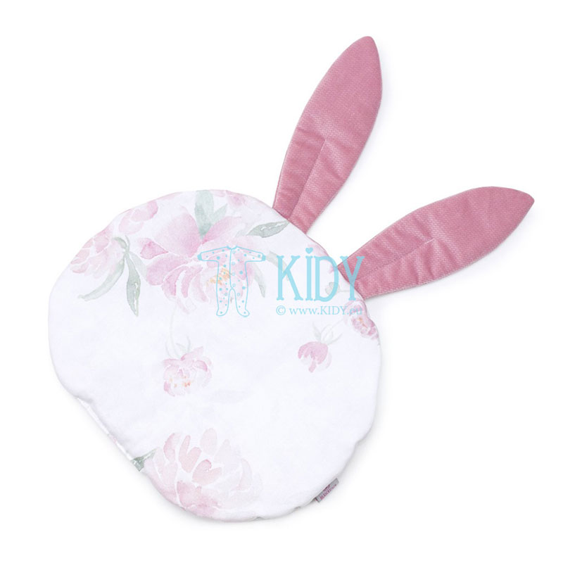 Pink Peonie pillow with 3D ears