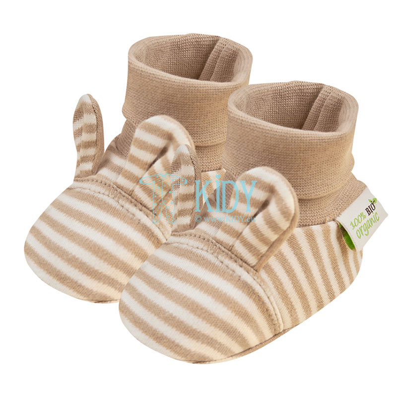 Striped ORGANIC booties with ears