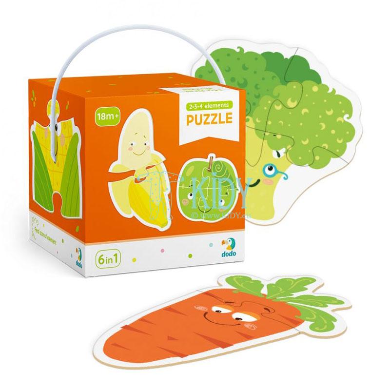 Dėlionių rinkinys Vaisiai ir daržovės, 9 dėlionės 2-4 dalių