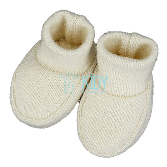 Knitted merino wool booties