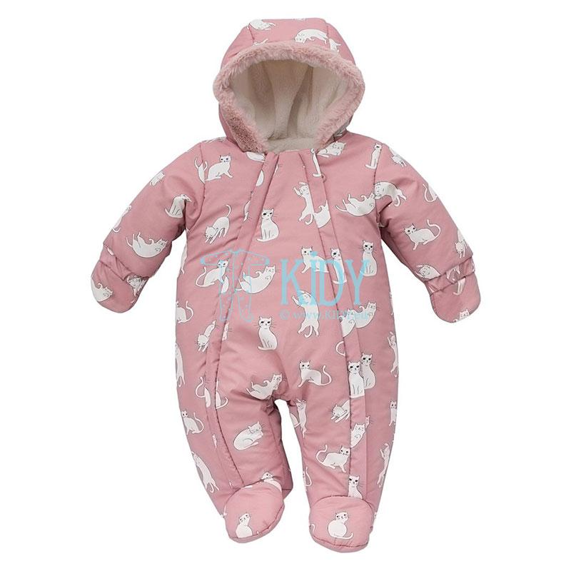 Pink W19 footed snowsuit