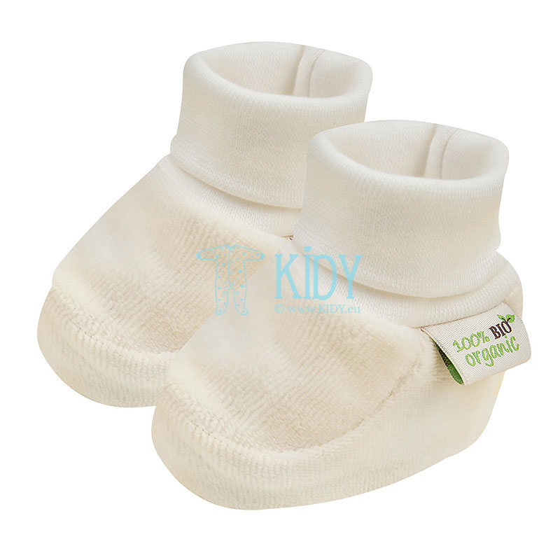 Ecru velour ORGANIC booties