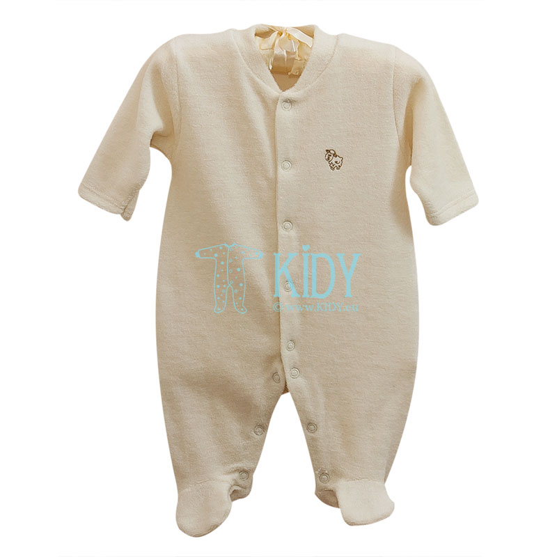Creamy LOLLY LAMB merino wool footed sleepsuit