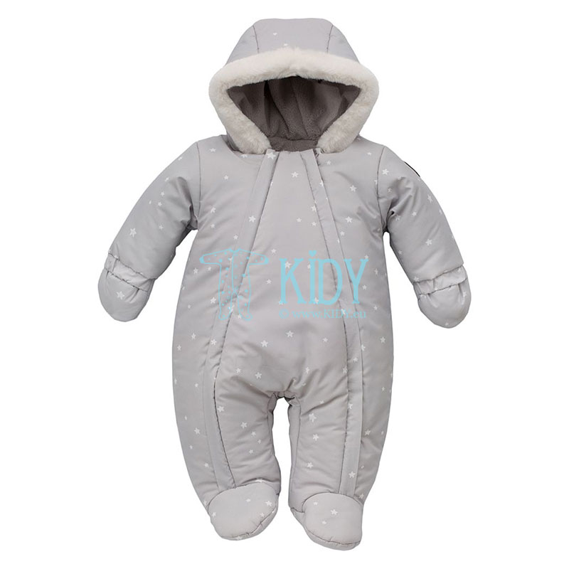 Grey W19 footed snowsuit