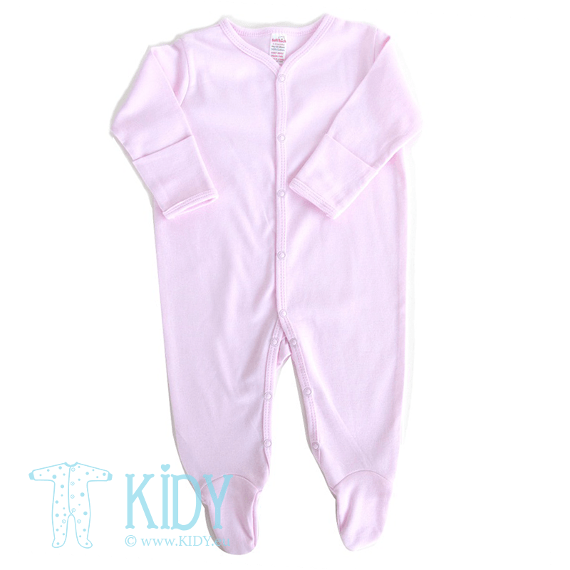Pink sleepsuit PLAIN with mitts