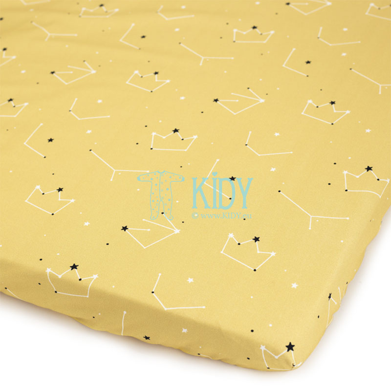 Yellow Mały Książę fitted sheet