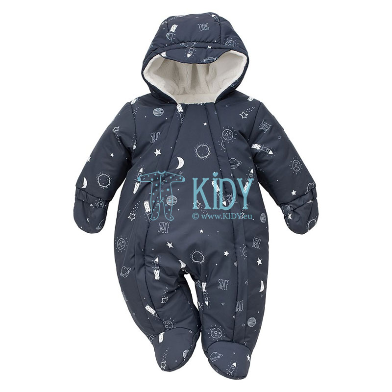 Navy W19 footed snowsuit