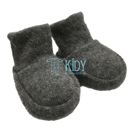 Grey knitted merino wool booties