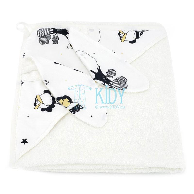 White Mały Książę hooded towel with 3D ears
