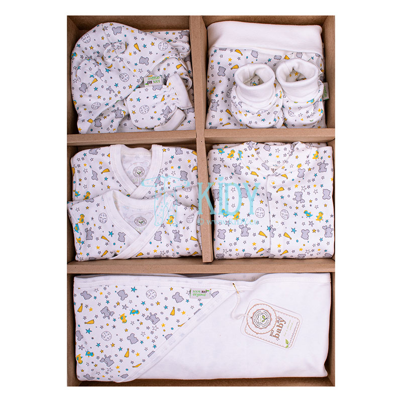 9 pcs grey ORGANIC neutral layette for newborns