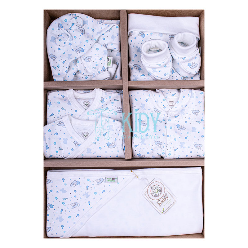 9 pcs blue ORGANIC layette for newborn boys