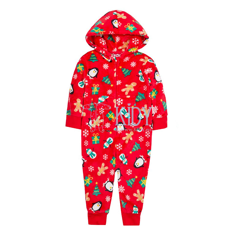 Red fleece christmas playsuit