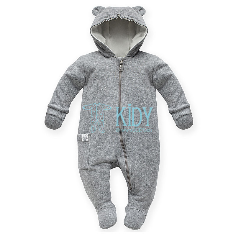 Grey WILD ANIMALS snowsuit with mitts