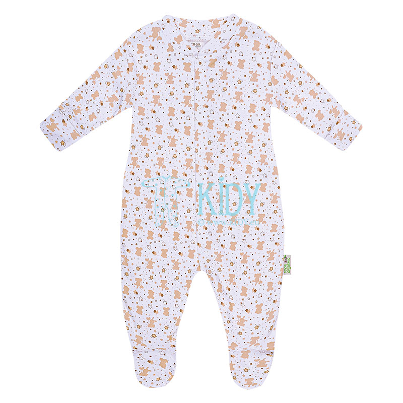 Beige ORGANIC footed sleepsuit
