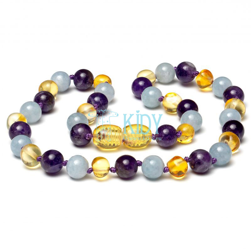 Amber LEMON teething necklace with amethyst and aquamarine