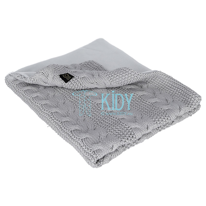 Grey knitted plaid with fleece