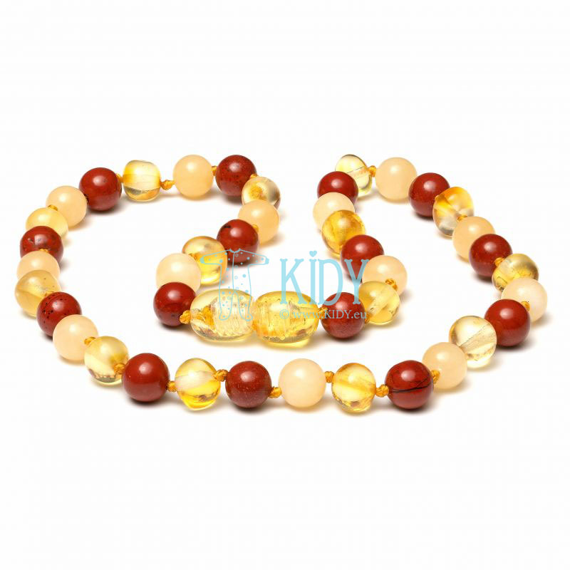 Amber LEMON teething necklace with red jasper and jade