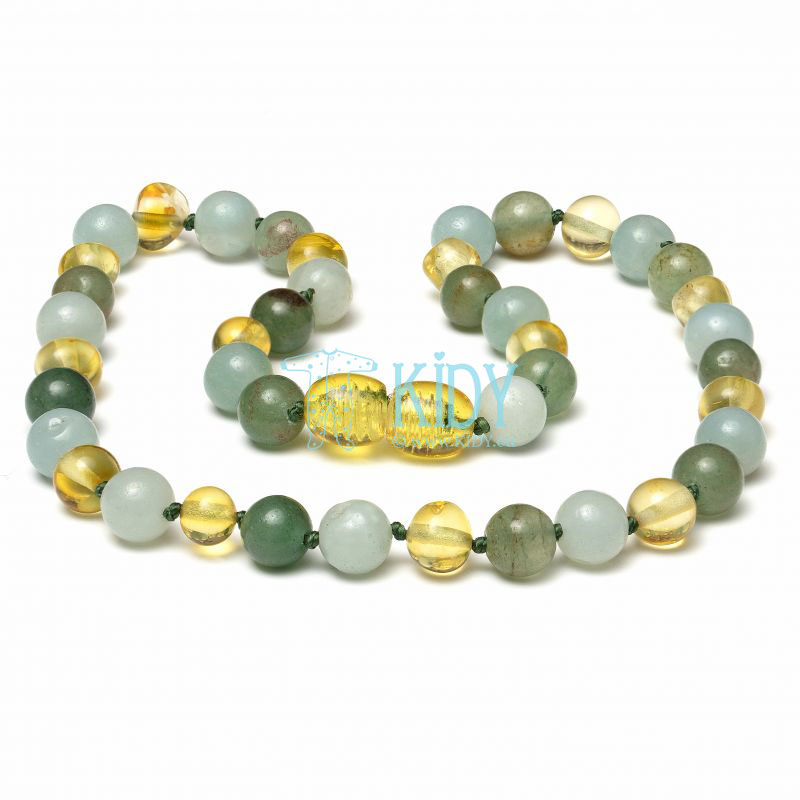 Amber LEMON teething necklace with amazonite and aventurine