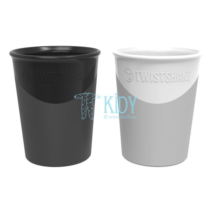 2 пластиковых стаканчика PASTEL WHITE BLACK