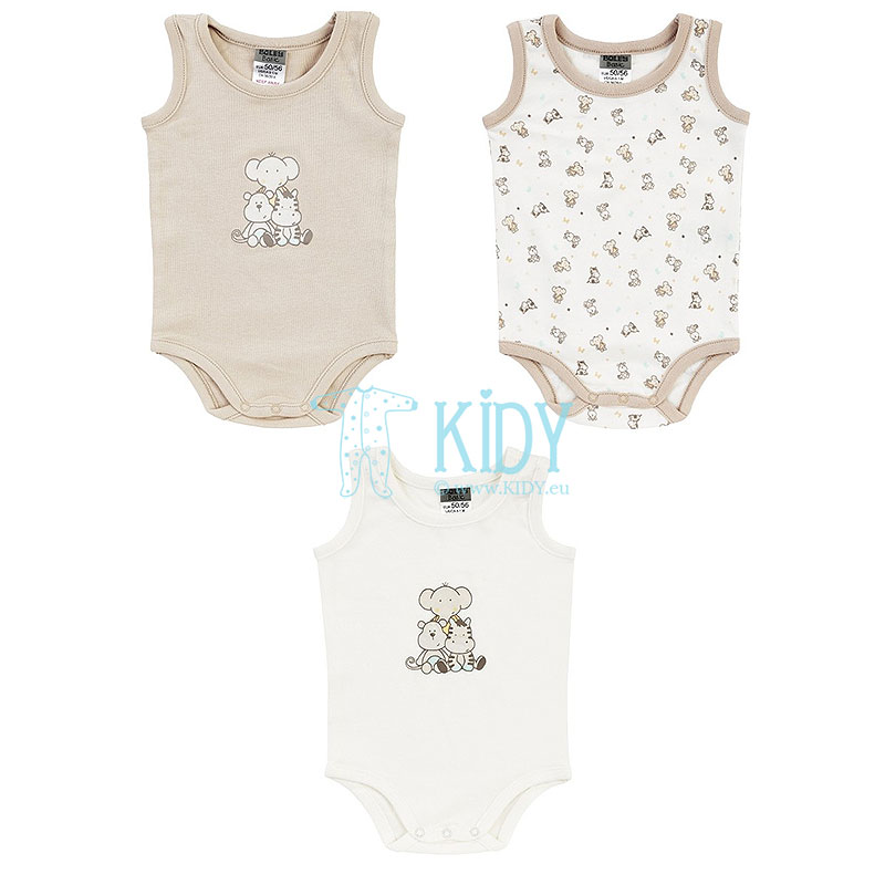3pcs ZOO sleeveless bodysuit pack