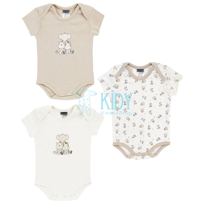 3pcs shortsleeved ZOO bodysuit pack