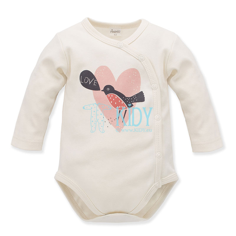 Ecru Little Bird wrap bodysuit (Pinokio)
