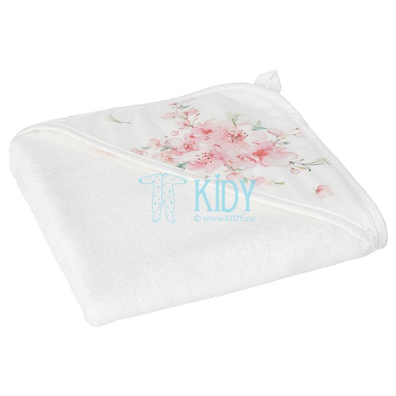 Baltas rankšluostis Japanese Flowers su gobtuvu (YOSOY)