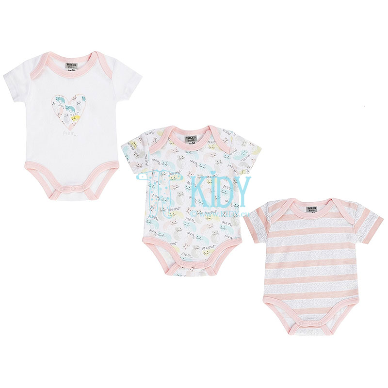 3pcs shortsleeved MEOW bodysuit pack