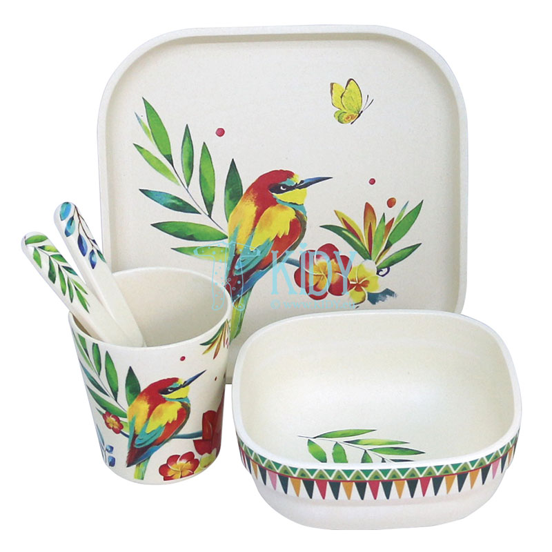 5pcs bamboo Blooming Day set of dishes